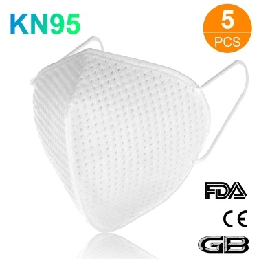 5pcs KN95 Face Mask with Elastic Earloop 4-Layer Filter Soft Breathable Respirator Protective Mask Filtering 95% Particles Face Sanitary Safety Mask Against Dust Fog Haze Air Pollution