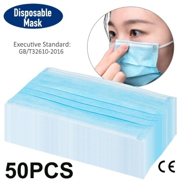 50Pcs Disposable Face Mask PPE with CE FFP2 Report Adaptable Nose Bar 3-Layer Protective Face Mask Soft Breathable Non-woven Fabric Earloop Mouth Face Mask Protection against Droplet Dust Particles Pollution (50pcs/Box)