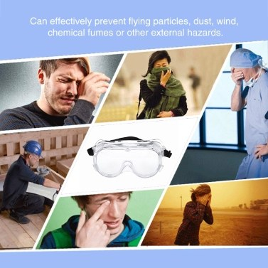 Medical Safety Glasses Anti-Fog Goggles Adjustable Surgical Eyewear Eye Protectors from Flying Particles Liquid Splatter Dust Wind Chemical Fumes Splash Unisex Eye Shield Spectacles