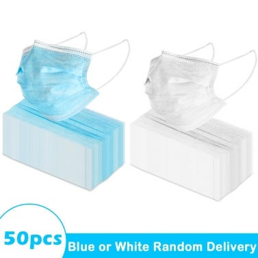 【Ship From US】50pcs 3-Ply Disposable Face Mask with Elastic Earloop Random Color