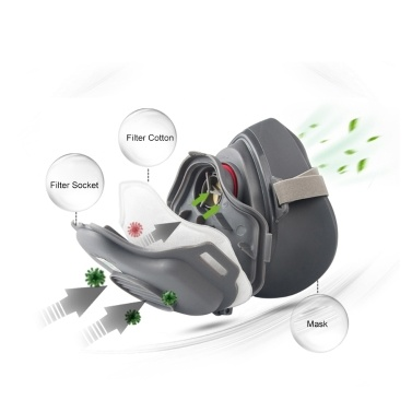 POWECOM 3700 Dust Mask Particulate Respirator Half Face Mask with KN95 Filter Cotton Socket Protective Face Mouth Mask Anti-Dust Haze