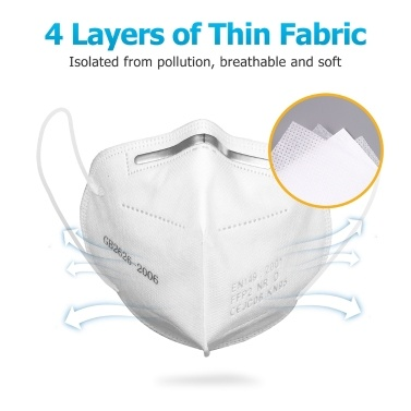 10 Pcs FFP2 Face Mask 4 Layers KN95 Masks 95% Filtration Disposable Face Cover Breathable Non-woven Fabric Anti Dust Droplets Earloop Mouth Mask