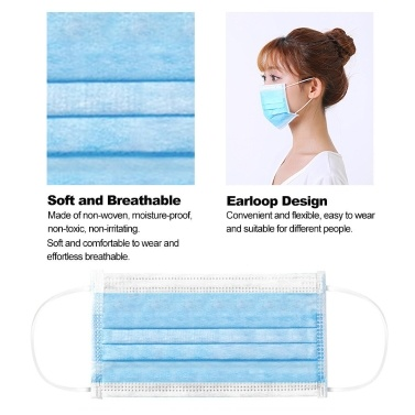 50PCS Disposable 3 Ply Masks  Mouth Nose Cover Dustproof Face Masks Breathing Safety Mouth Masks Blue