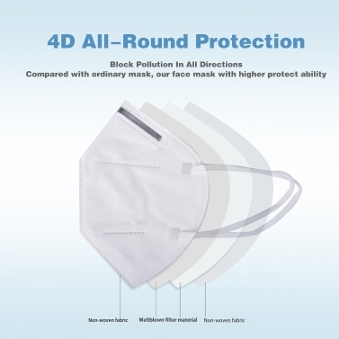 1 PCS KN95 Mask 94% Filtration Disposable Face Mask Soft & Breathable Non-woven Fabric Safety Masks for Dust Particles Pollution Daily Use Construction Site Outdoor Activities