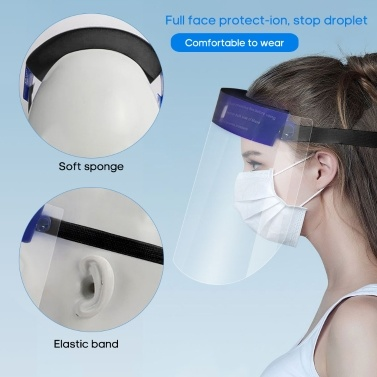 1PC Safety Face Shield 0.25MM Thickness Anti Splash Transparent Face-Mask Dust-proof Full Face Protector