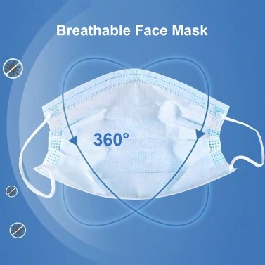 10pcs Disposable Mask Non-woven Fabric Earloop Sterile Anti Pollution Viral Dust 3Ply Protective Respirator Face Mask Protection Against Catkin Pollen F-lu Particulate Matters