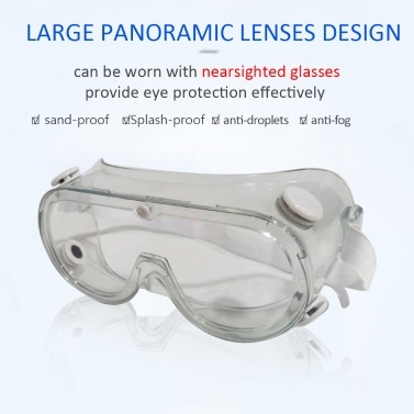 Medical Adjustable Safety Personal Protective Glasses Splash-proof Sand-proof Windproof Impact-proof Anti-fog Droplets Dander Chemical Fumes Unisex