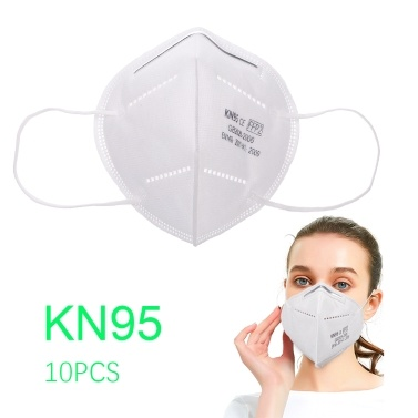 10pcs KN95 Face Mask Adult Dustproof Non-Woven Fabrics Mask 95% Filtration