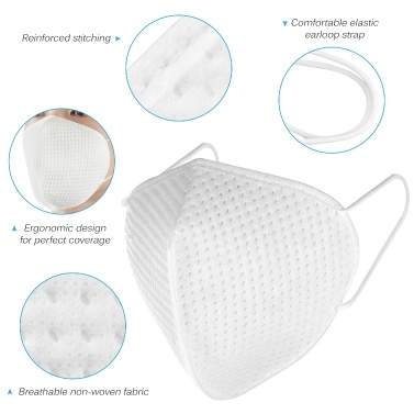 5pcs 3-Ply Disposable KN95 Mask Breathable Non-woven 95% Filtration N95 Sanitary Protective Face Mouth Masks for Dust Particles Virus Pollution Personal Health