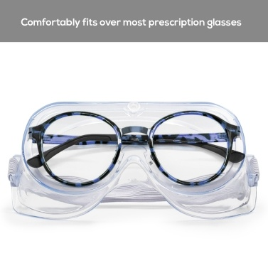 Safety Goggles Adults Adjustable Safety Glasses Splash Impact Resistant Anti Fog Clear Lens Eyewear Use with Prescription Glasses
