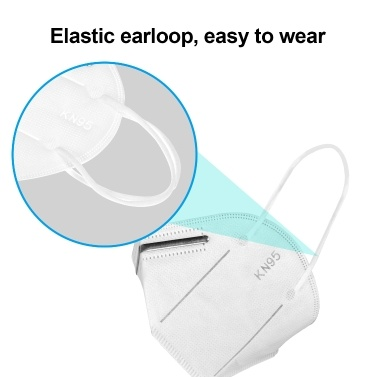KN95 Face Mask with Elastic Earloop 4-Layer Filter Soft Breathable Respirator Protective Mask Filtering 95% Particles Face Sanitary Safety Mask Against Dust Fog Haze Air Pollution