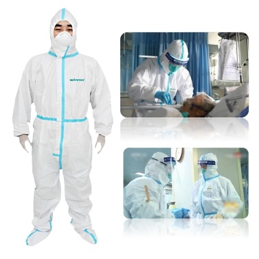 Protective Coverall Hazmat Suits Protective Overalls Protective Suits Against Pesticides Chemical Splash Protective Work Suit Safety Coverall Breathable Disposable Coveralls with Hood Shoes Cover Elastic Waist and Ankle Joints-- XL Size