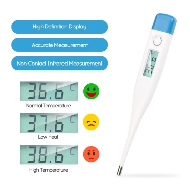 Portable New Style Domestic Use Electronic Thermometer Convenient Quick Temperature Measuring Instrument White/Blue Cover Random Delivery