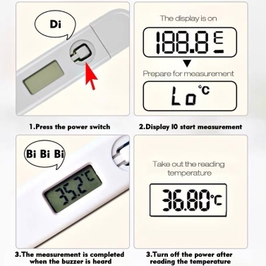 Digital Electronic Thermometer Portable Mouth/Underarm 1-second Reading Intelligent Beep Remind LCD Screen For Adult Baby Care Pets