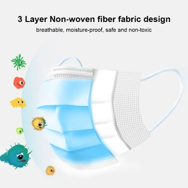 50-Pieces Disposable Mask Earloop Sterile Anti Pollution Dust 3Ply Protective Respirator Face Mask Protection Against Catkin Pollen Particulate Matters