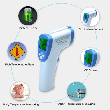 Non-Contact Infrared Forehead Thermometer for Baby, Adult, Child, Surface of Objects, with Memory Function, Color Alarm, Sound Setting, Accurate +/-0.2℃/0.4℉