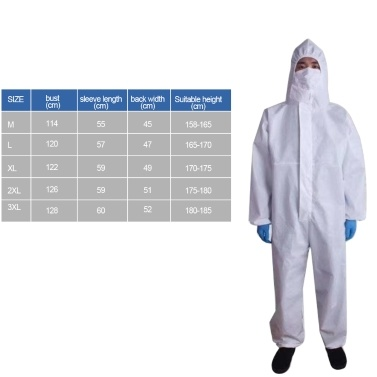 Breathable Disposable Coveralls Protective Clothing Hooded Suit with Elastic Cuffs Ankles Hoodie