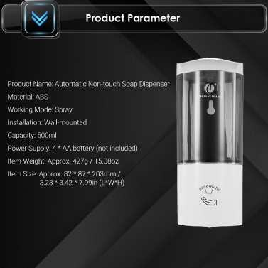 CHUANGDIAN Wall-mounted Automatic Soap Dispenser 500ml Capacity Spray Type Touchless Soap Dispensers with IR Sensor Rinse-free Sanitizer for Home Commercial Use Hospitals