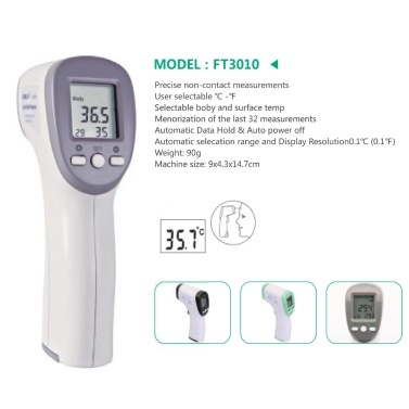 KINLEE FT3010 Infrared Non-contact Body Thermometer Baby Adult Forehead Digital Thermometer Gun Temperature Meter Digital Bady Thermometer Ear Forehead Object Room Temperature Measuring Tool Electronic Thermometer 1 pc Random Color