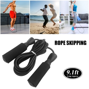 Adjustable Jump Rope Fitness Skipping Rope Soft Foam Handles Tangle-free for Exercise Workouts Speed Endurance Training