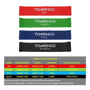 TOMSHOO Set of 4 Exercise Resistance Loop Bands