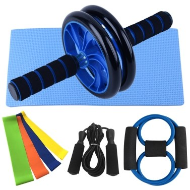 Home Gym Fitness Set Abdominal Roller Wheel 8 Shape Resistance Band Resistance Loop Band Jump Rope Pack Kit